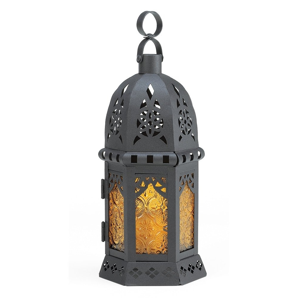 Outdoor Lanterns Without Glass Inside Most Recent Moroccan Lantern Decor, Yellow Glass Decorative Outdoor Lanterns For (View 11 of 20)