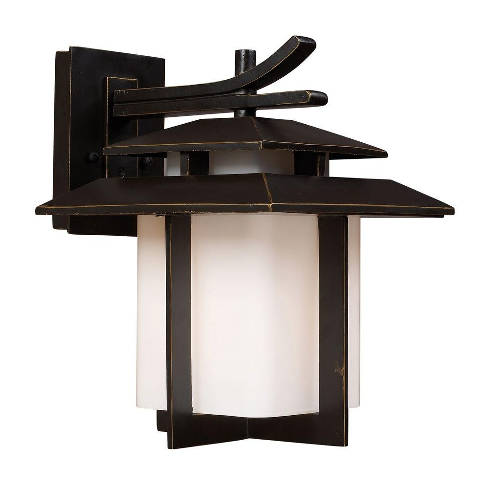 Outdoor Lighting Japanese Lanterns Within Well Known Titan Lighting Kanso Outdoor Hazelnut Bronze Wall Sconce Tn  (View 9 of 20)