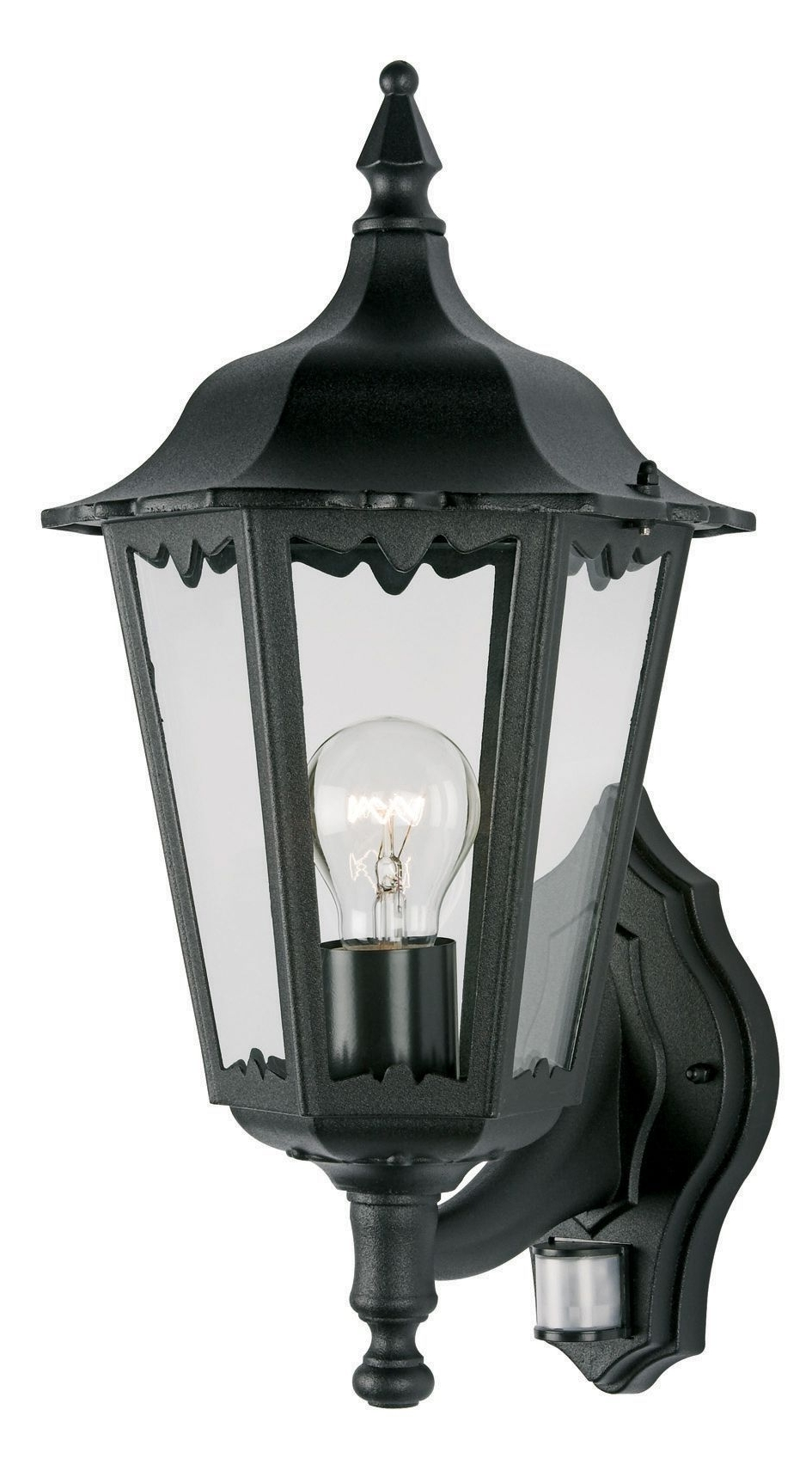 Outdoor Mains Lanterns For Trendy Waterville Black 60W Mains Powered External Pir Lantern (View 13 of 20)