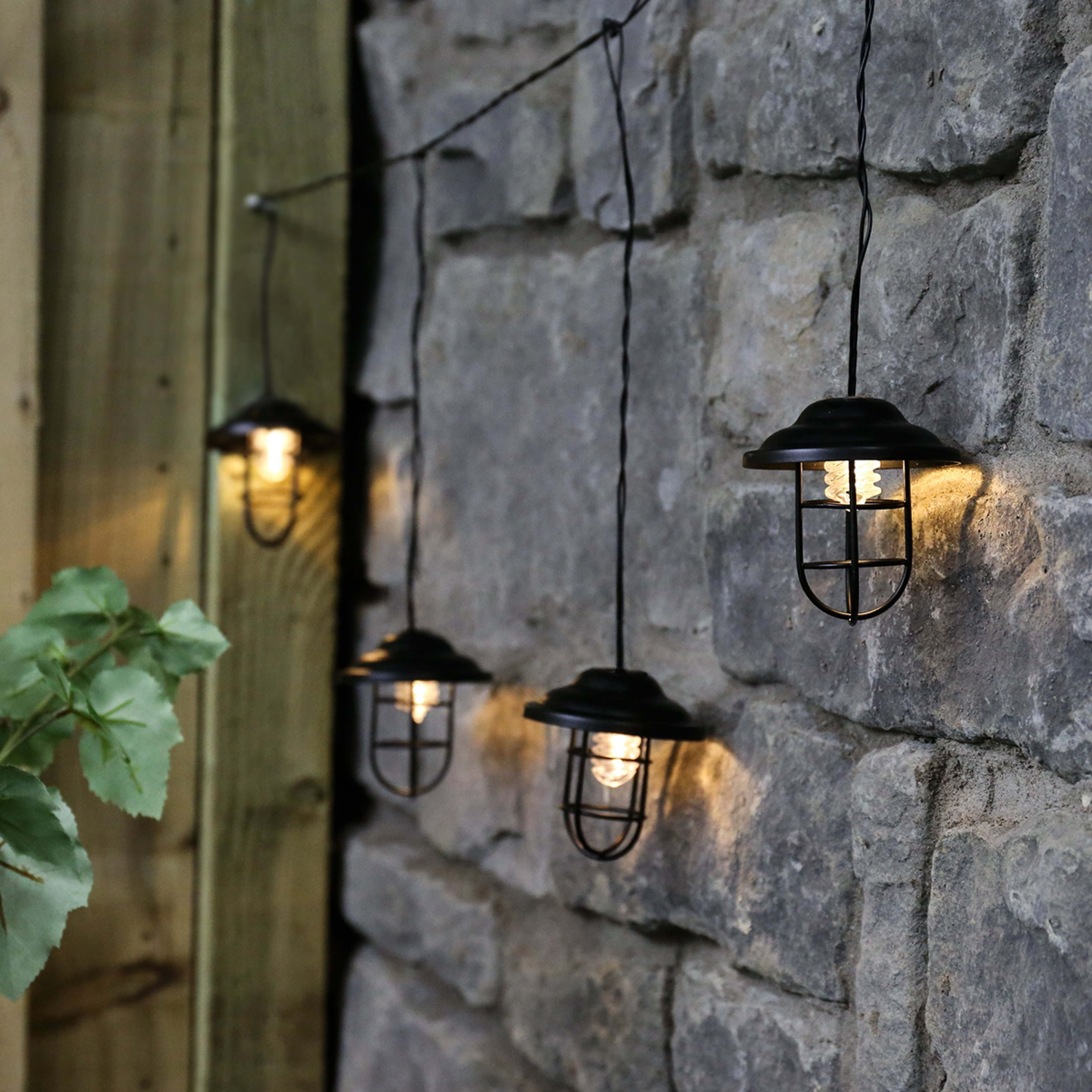 Outdoor Metal Plug In Lantern String Lights, Warm White Leds, 1m In Best And Newest Plug In Outdoor Lanterns (View 14 of 20)