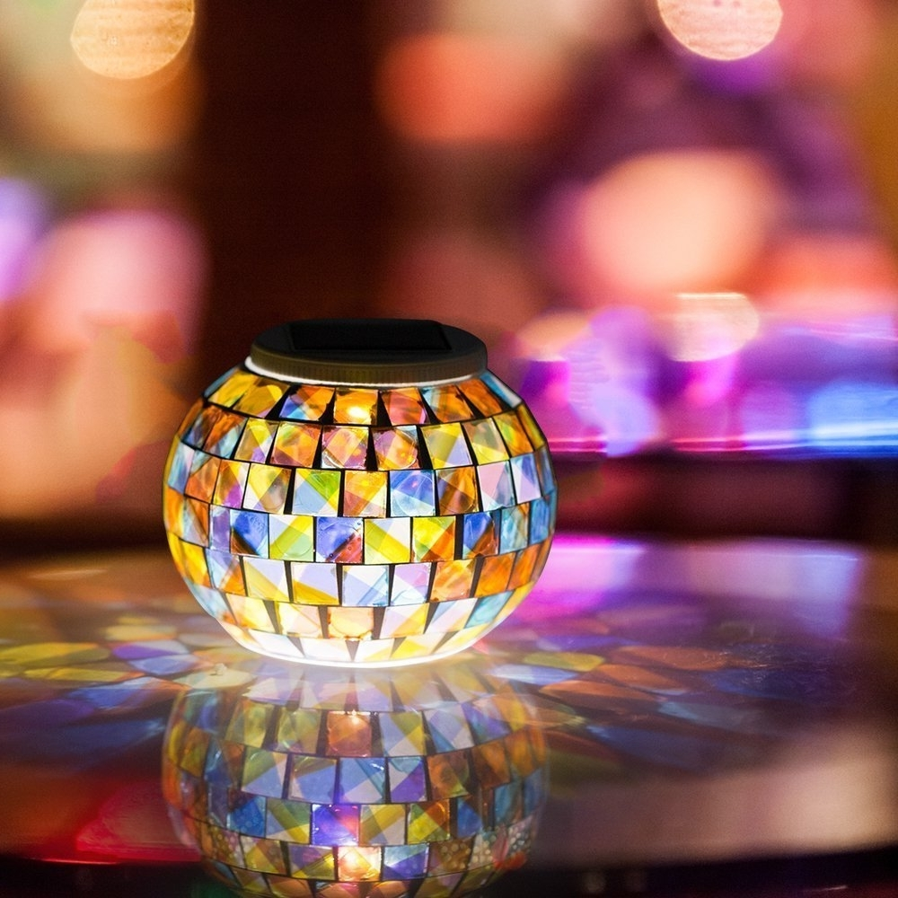 Outdoor Mosaic Lanterns With Regard To Current Solar Powered Mosaic Glass Ball Garden Lights, Color Changing Solar (View 20 of 20)
