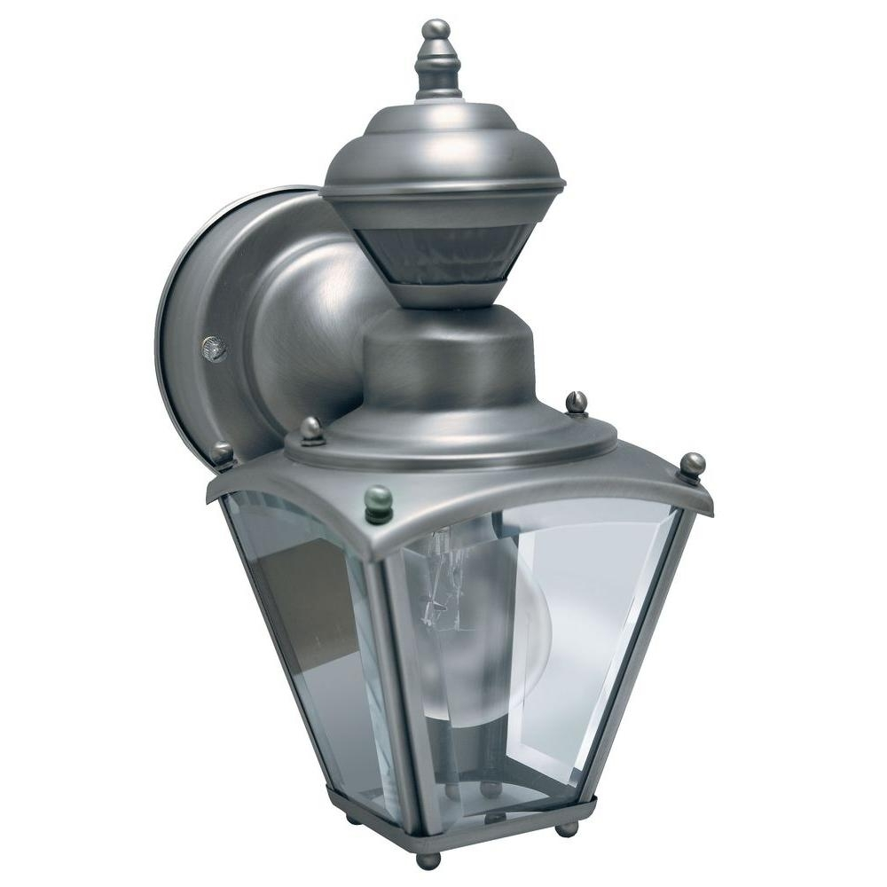 Outdoor Motion Lanterns Throughout Famous Silver Mini Coach Lantern Motion Detection Clear Beveled Glass (Gallery 14 of 20)