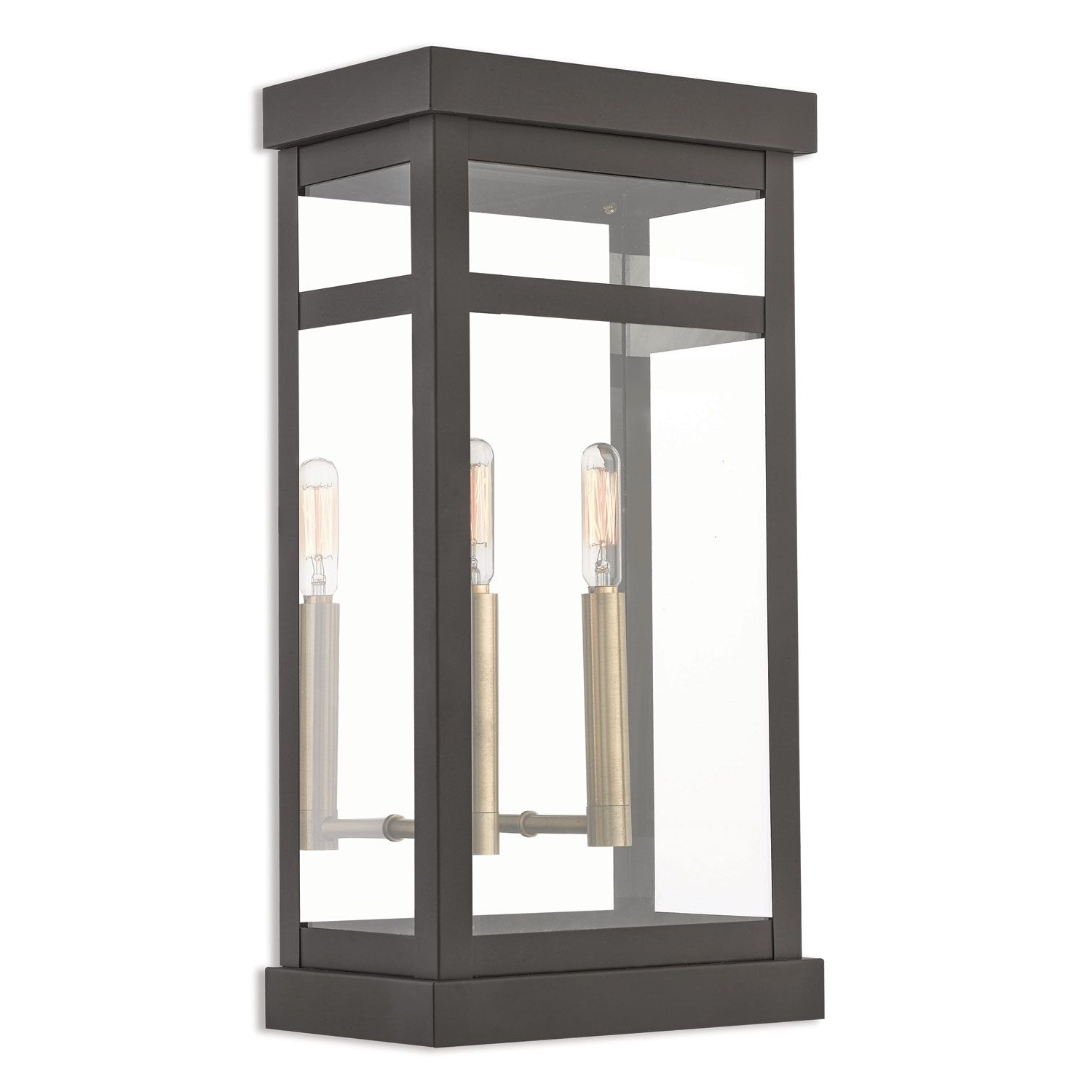 Outdoor Mounted Lanterns Throughout Trendy Livex Lighting Hopewell Bronze 18 Inch Two Light Outdoor Wall (Gallery 8 of 20)
