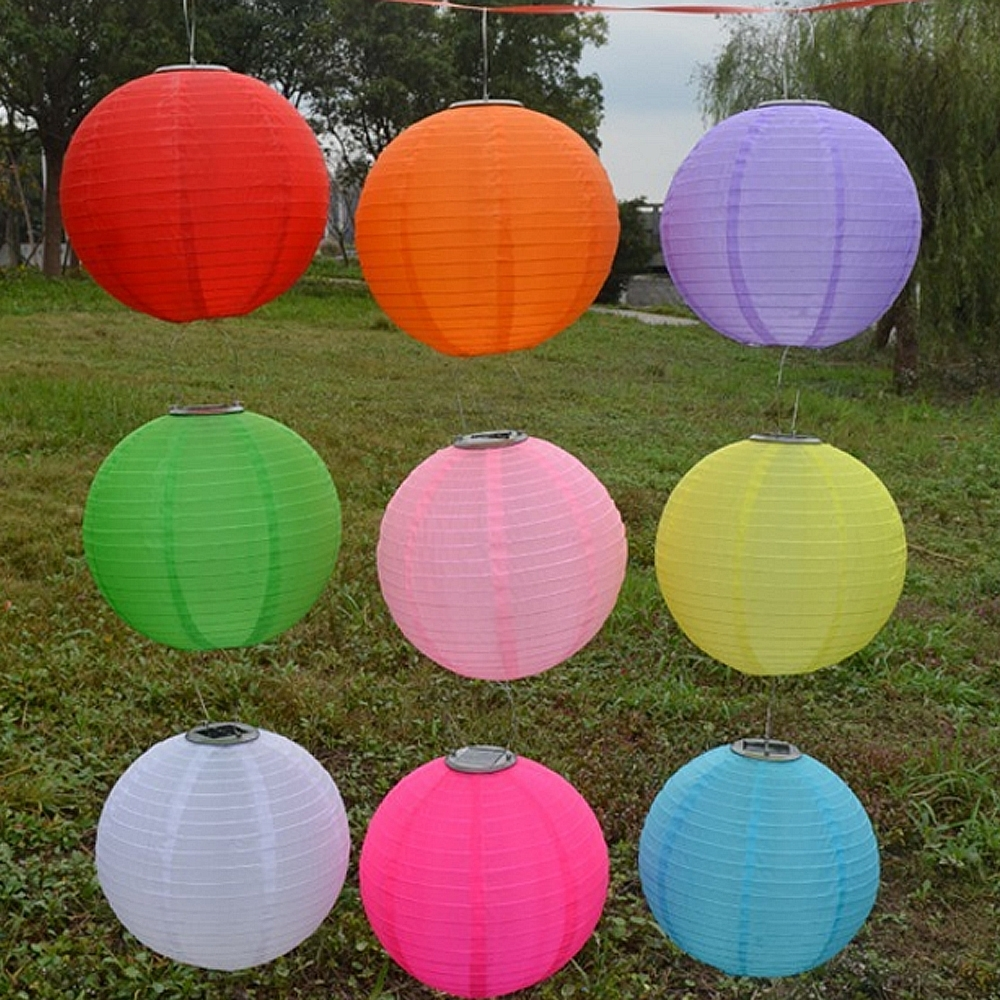 "Outdoor Nylon Lanterns Pertaining To Trendy 10"" Solar Powered Led Light Chinese Nylon Fabric Lantern Lamp (View 14 of 20)"