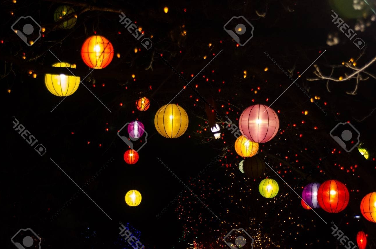 Outdoor Orange Lanterns Regarding Latest Chinese Lanterns And Christmas Lights Hanging In Outdoor Trees Stock (Gallery 19 of 20)