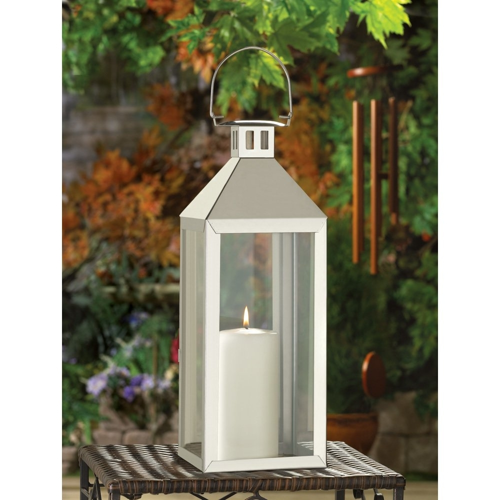 Outdoor Oversized Lanterns In Favorite White Metal Candle Lantern, Outdoor Lanterns For Candles Stainless (View 11 of 20)