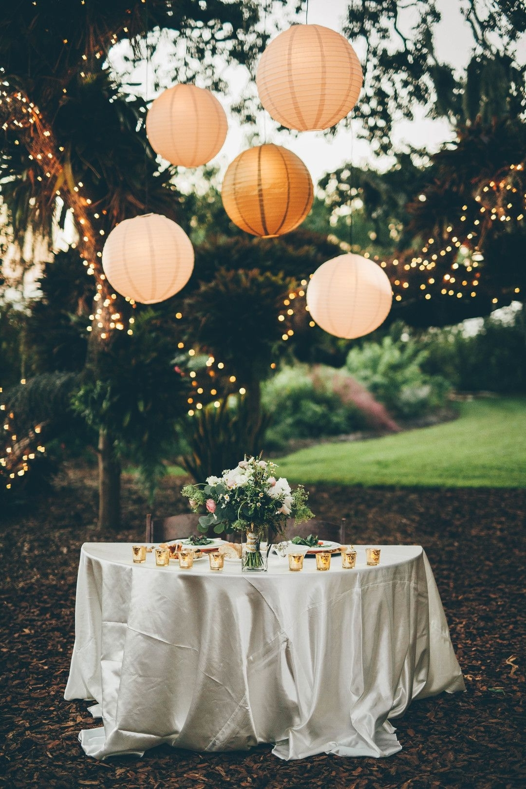 Outdoor Paper Lanterns Throughout Recent Wedding Reception Lighting Design, Paper Lantern Globes, Trees (View 13 of 20)