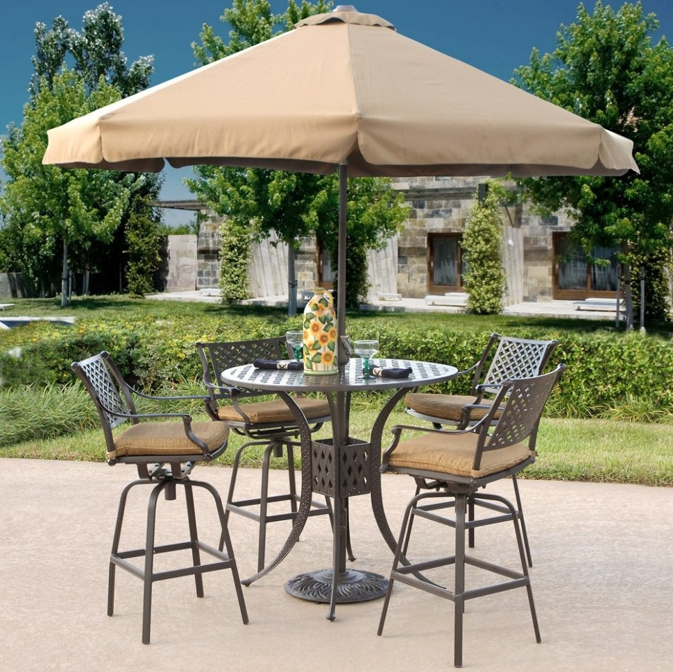Outdoor Patio Table Chairs Umbrella Set Cheap Garden Metal Wood With Recent Patio Table And Chairs With Umbrellas (View 11 of 20)