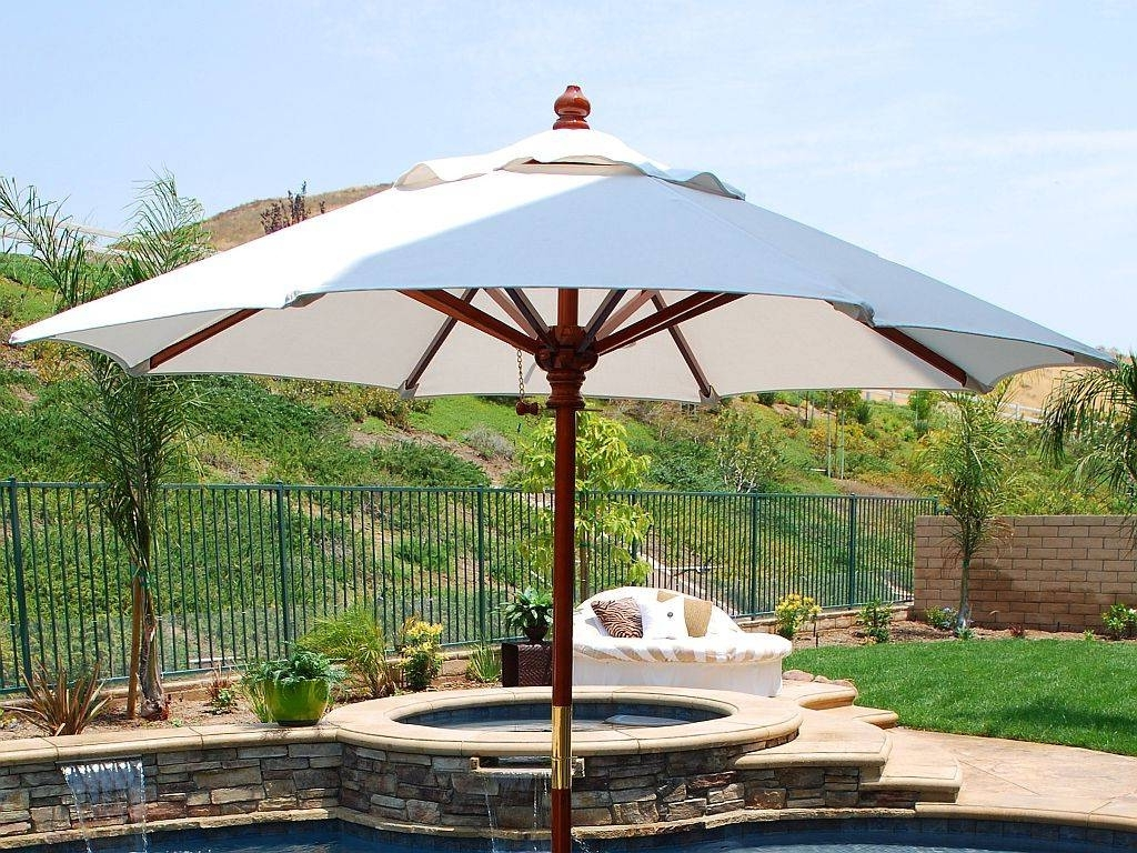 Outdoor Patio Umbrellas With Regard To Most Recent Outdoor & Garden: Big Patio Umbrella For Salec2a0 White Round (View 9 of 20)