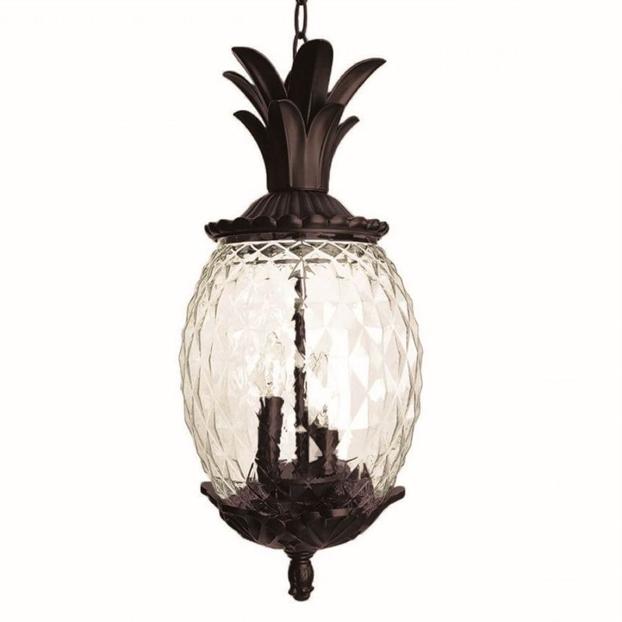 Outdoor Pineapple Lanterns Intended For Trendy 21 Inch Tall Dark Bronze Pineapple Outdoor Hanging Lantern Light (Gallery 9 of 20)