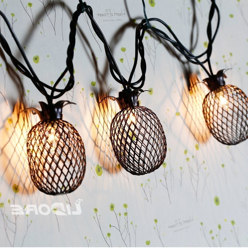 Outdoor Pineapple Lanterns Within Well Known Lidore Set Of 10 Metal Pineapple Shaped Lanterns String Lights (View 15 of 20)