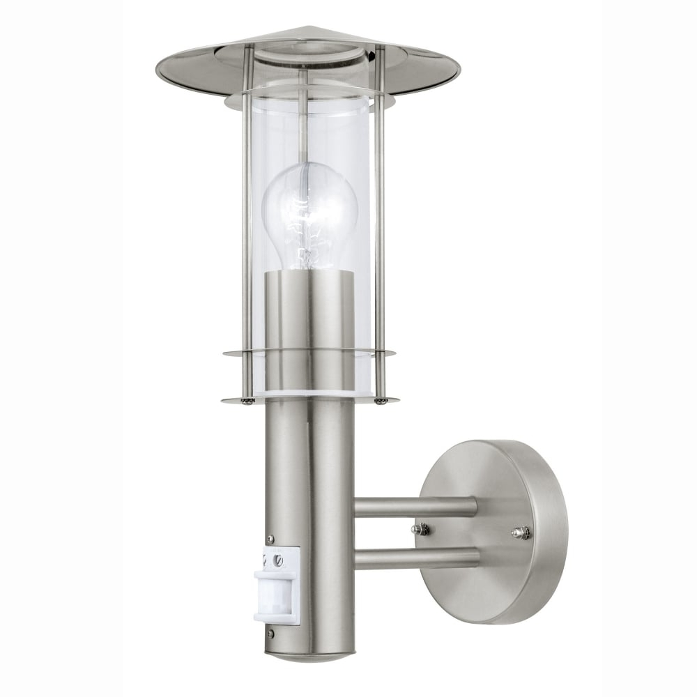Outdoor Pir Lanterns Pertaining To Current Eglo 30185 Lisio Pir Outdoor Ip44 Stainless Steel Wall Light (Gallery 4 of 20)