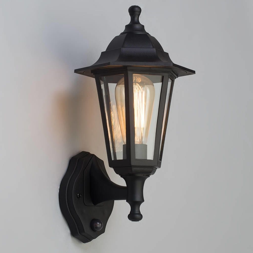 Outdoor Pir Lanterns With Favorite Neri Outdoor Polycarbonate Wall Lantern With Pir – Black (Gallery 3 of 20)