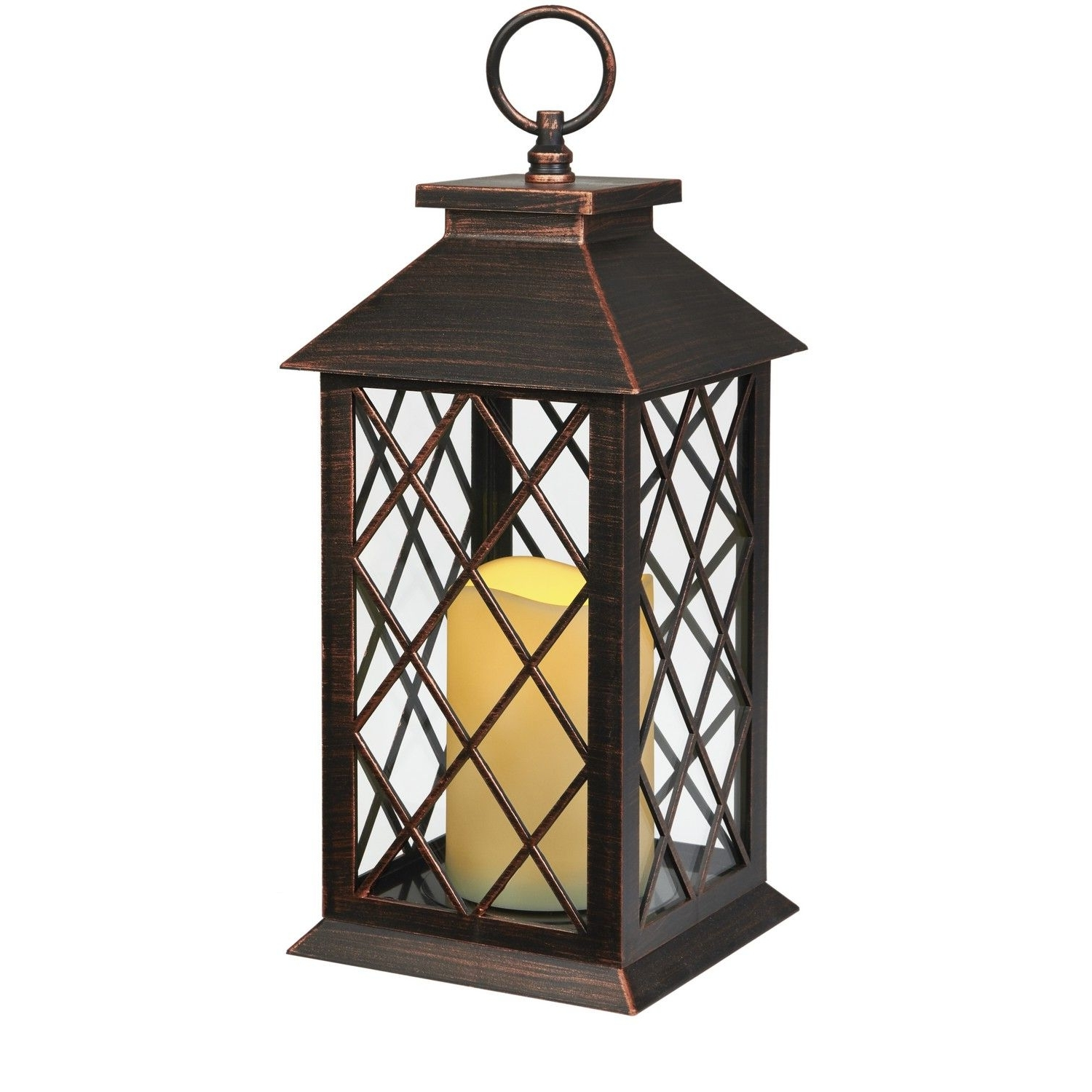 Outdoor Plastic Lanterns Regarding Well Known Bronze Plastic Candle Lanterns With Led Candle Installed: Size:14Cm (View 5 of 20)