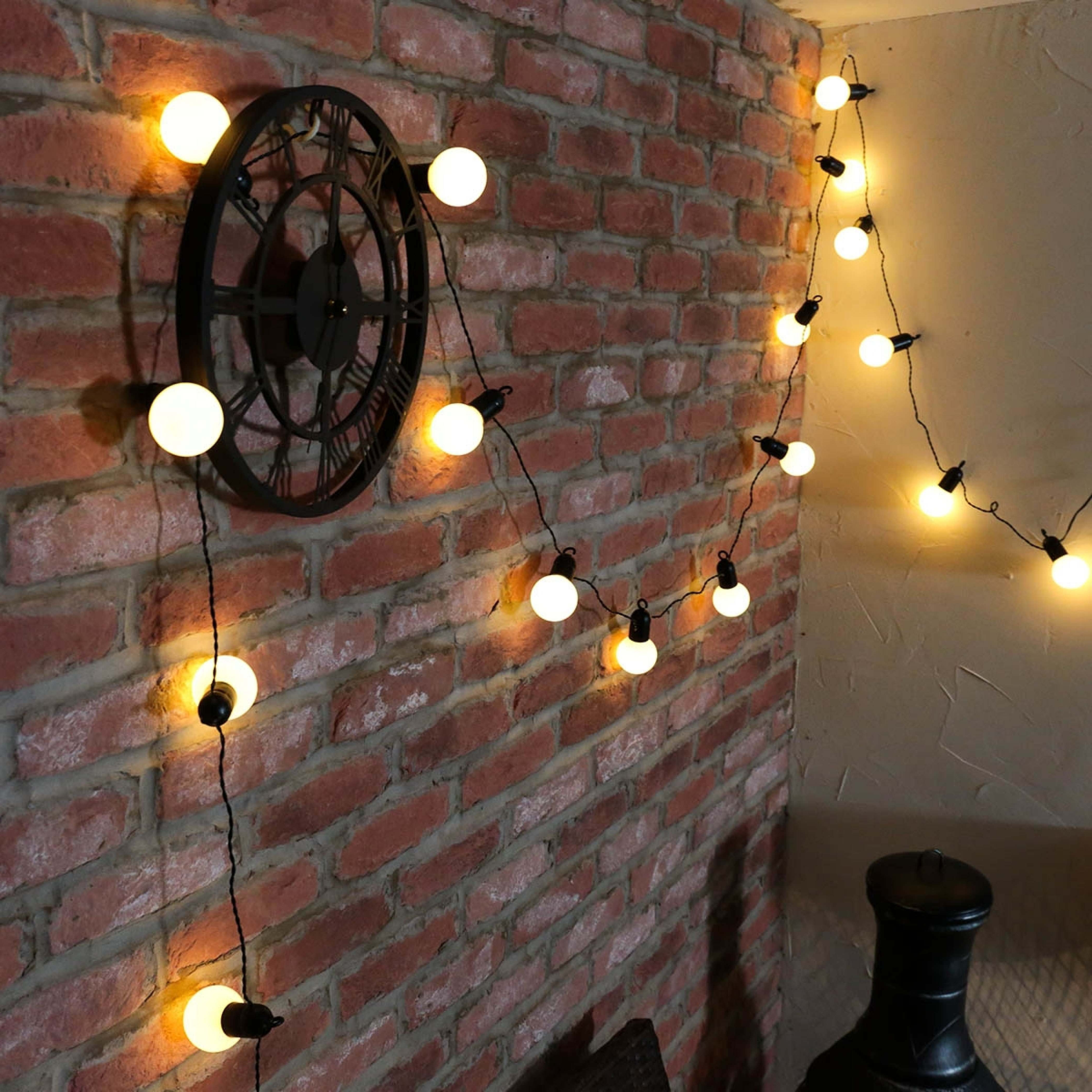 Outdoor Plug In Festoon Lights, 20 Leds, Dark Green Cable,  (View 9 of 20)