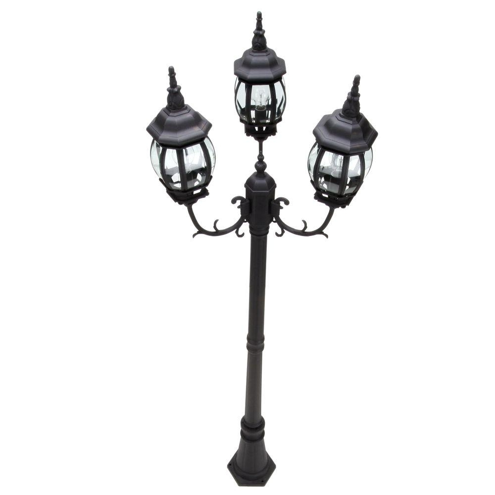 Outdoor Pole Lanterns With Most Recently Released Hampton Bay 3 Head Black Outdoor Post Light Hb7017P 05 – The Home Depot (View 14 of 20)