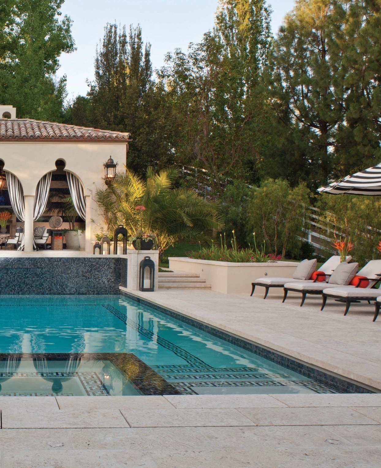 Outdoor Pool Lanterns Intended For Fashionable Outdoor Striped Drapes, Exterior Curtains, Greek Key Design In Pool (View 17 of 20)
