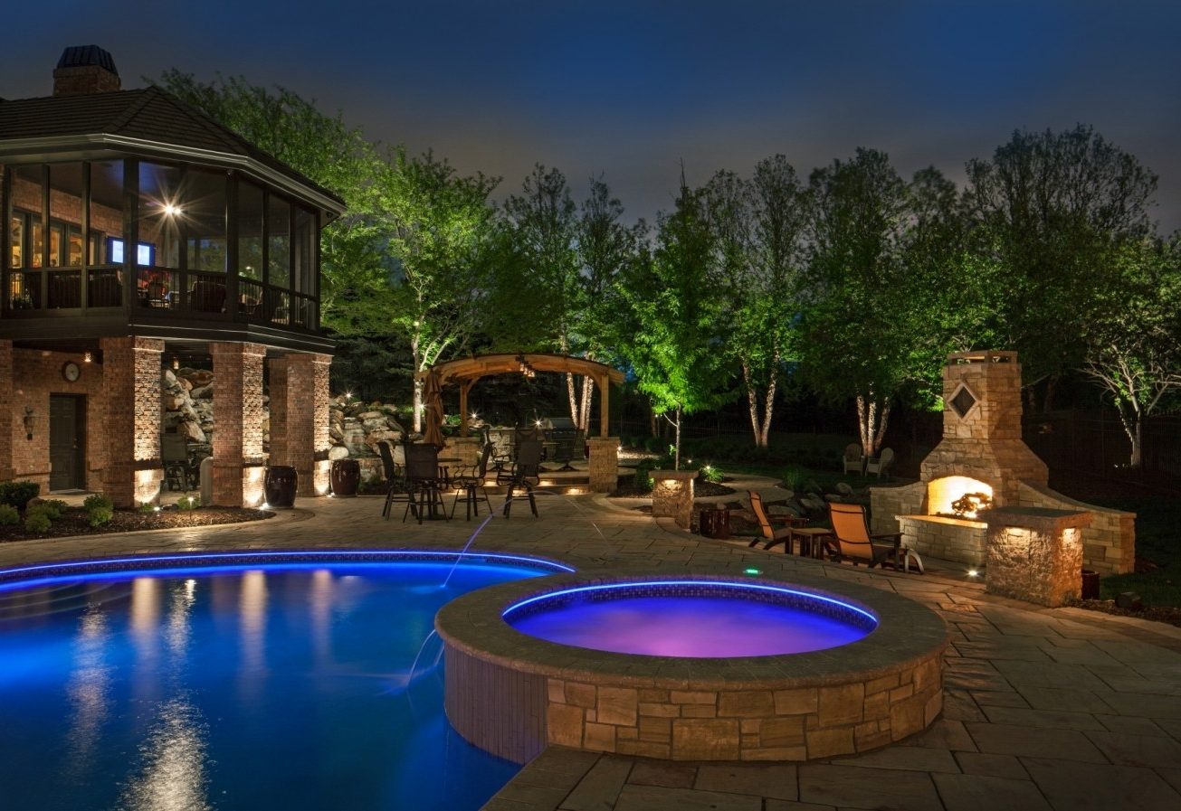 Outdoor Pool Lanterns With Regard To Fashionable Patio Ideas Outdoor Lamp For With Blue And Purple Swimming Electric (Gallery 12 of 20)