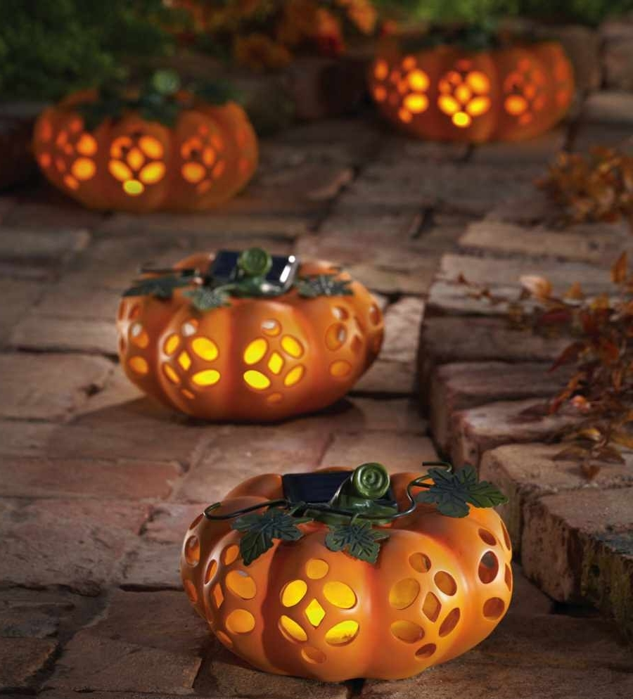 Outdoor Pumpkin Lanterns Intended For Preferred Exciting Outdoor Halloween Decoration Ideas Presenting Artificial (Gallery 2 of 20)
