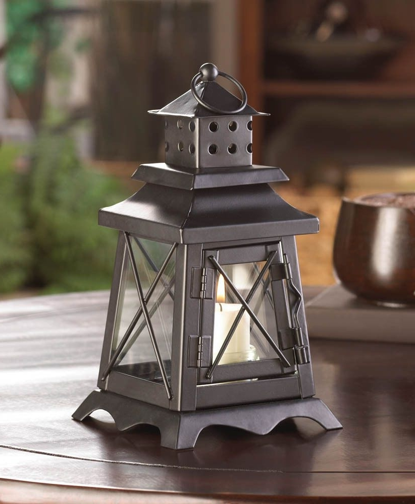 "Outdoor Railroad Lanterns With Latest Black Colonial Lighthouse 9"" Candle Holder Lantern Light Outdoor (View 13 of 20)"