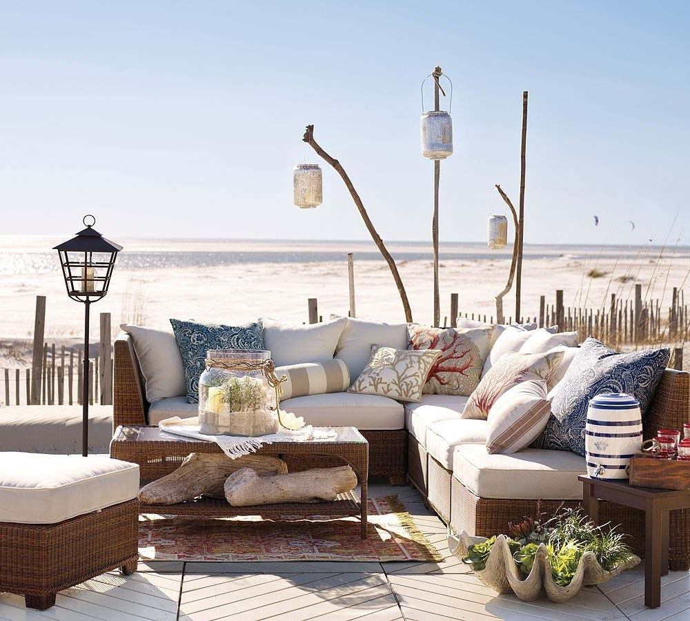 Outdoor Rattan Lanterns Inside Preferred Pottery Barn Beach Furniture For Outdoor Living Room With L Shape (View 13 of 20)