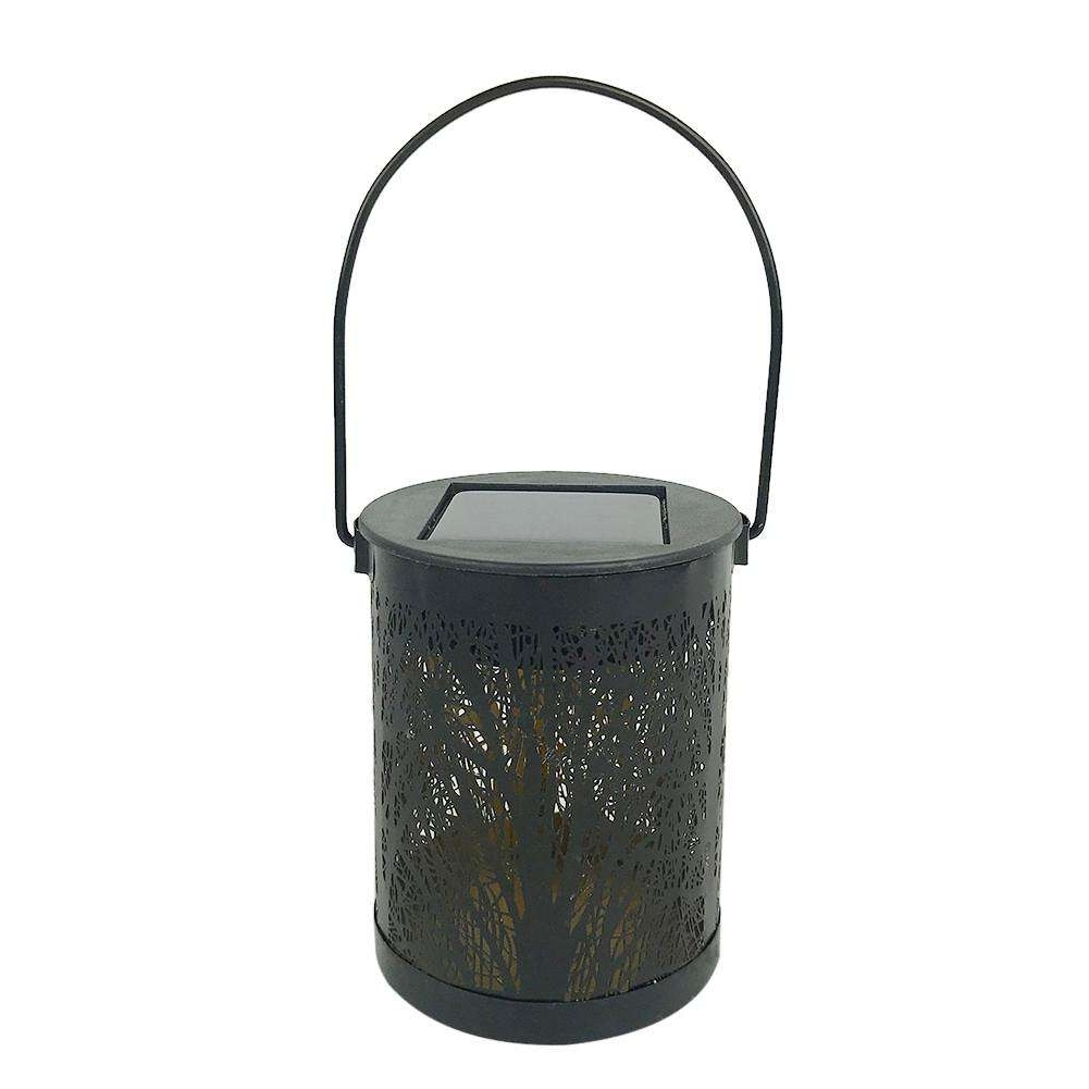Outdoor Rattan Lanterns Regarding Famous Metal Rattan Outdoor Solar Hanging Led Light Garden Yard Decoration (View 15 of 20)