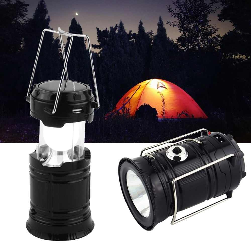 Outdoor Rechargeable Lanterns Within Preferred Usb Solar 6 Led Portable Light Rechargeable Lantern Outdoor Camping (Gallery 9 of 20)