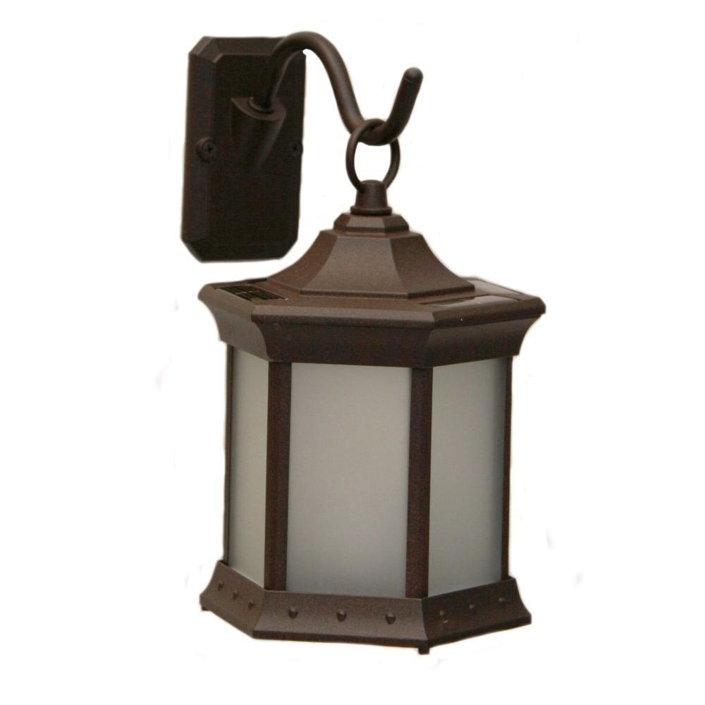 Outdoor Solar Lanterns In Widely Used Sconce Hook Frosted Glass Solar Lantern Sl Stfg – The Home Depot (View 8 of 20)