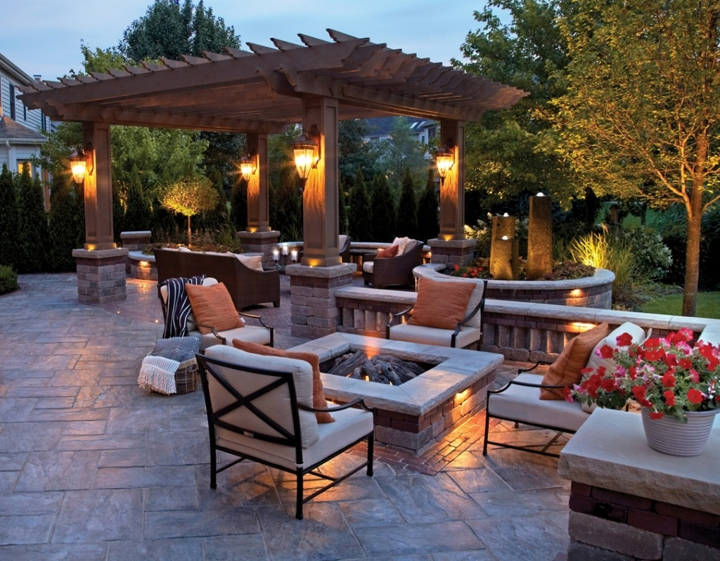 Outdoor Table Lanterns Inside Widely Used Lighting Ideas: Outdoor Lantern For Patio With Fire Pit Table And (View 11 of 20)