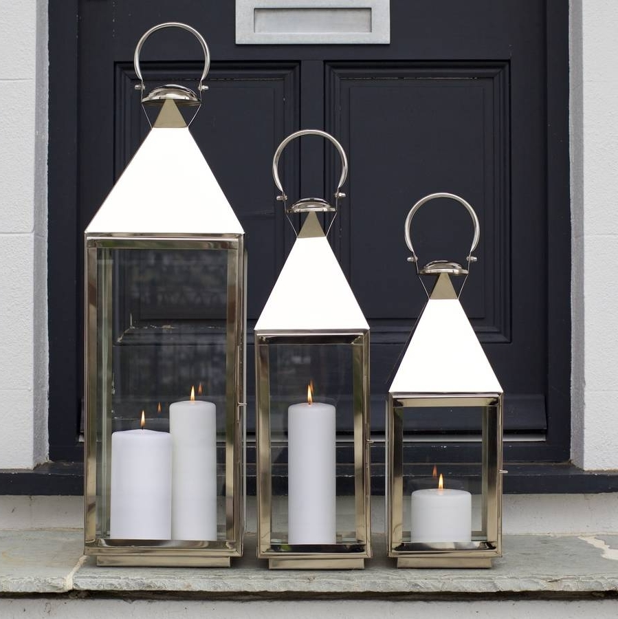 Outdoor Tea Light Lanterns Intended For Most Up To Date Tall Stainless Steel Garden Candle Lanternza Za Homes (Gallery 5 of 20)