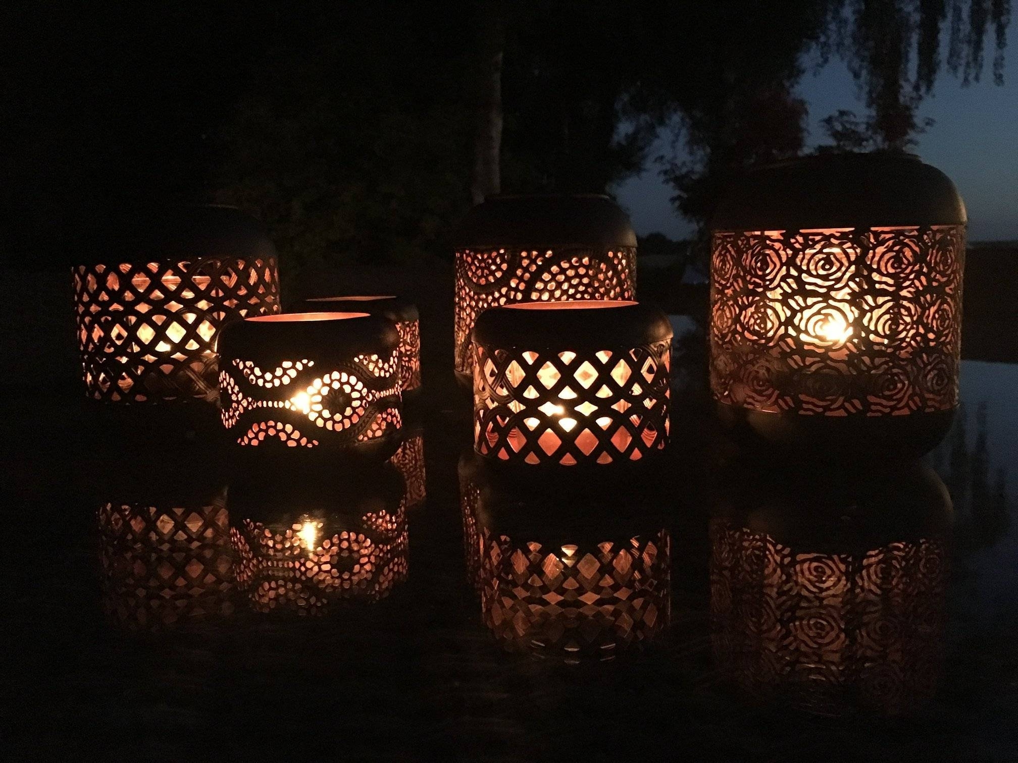 Outdoor Tea Light Lanterns With Regard To 2019 Set Of 4 Moroccan Copper Metal Tea Light Candle Holder Garden Lantern (View 14 of 20)