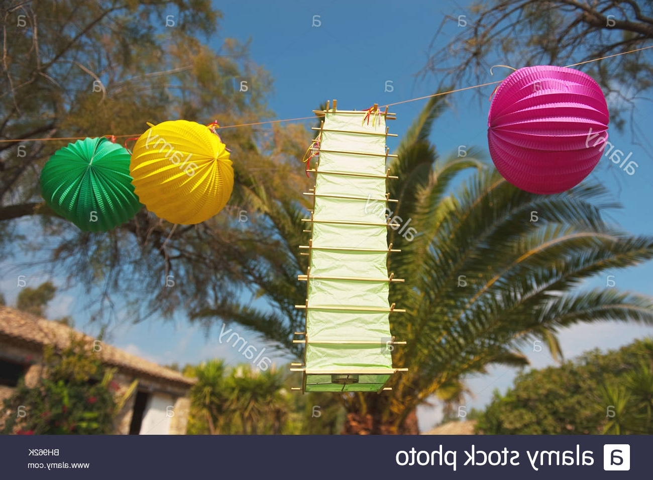 Outdoor Tropical Lanterns Within Most Current Tropical Party Outdoor In The Garden With Chinese Lanterns Stock (View 15 of 20)