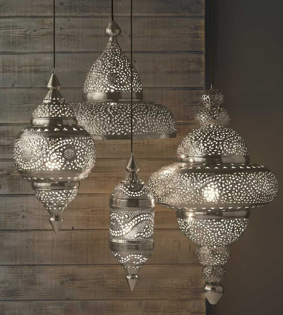 Outdoor Turkish Lanterns For Well Liked Silver Moroccan Hanging Lamp From Vivaterra Holiday Catalog (View 7 of 20)