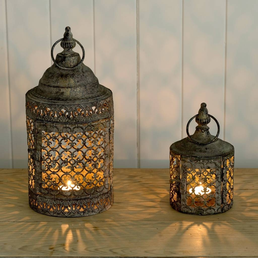 Outdoor Turkish Lanterns Intended For Most Popular Moroccan Style Lattice Candle Lanternthe Flower Studio (Gallery 3 of 20)