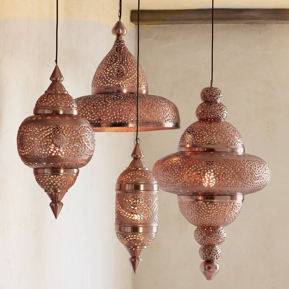 Outdoor Turkish Lanterns Regarding Preferred Moroccan Hanging Lamp Collection – Bright Copper (View 13 of 20)