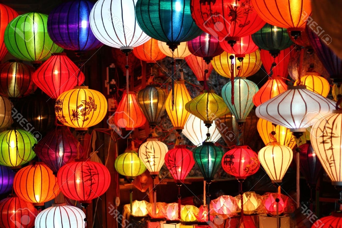 Outdoor Vietnamese Lanterns Intended For Trendy Colored Vietnamese Silk Lanterns Stock Photo, Picture And Royalty (View 11 of 20)