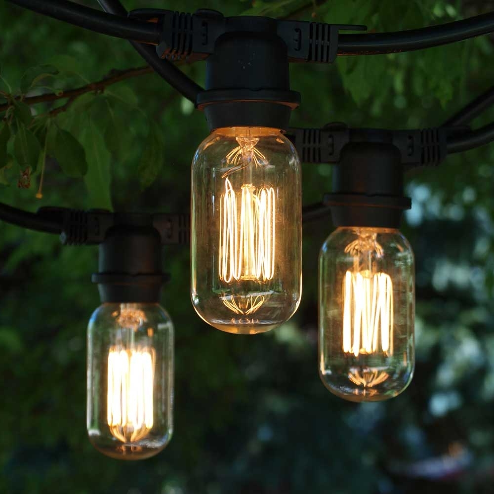 Outdoor Vintage Lanterns With Regard To Well Known Vintage Outdoor String Lights, 48' Black, T14 Edison Cage Bulb (Gallery 9 of 20)