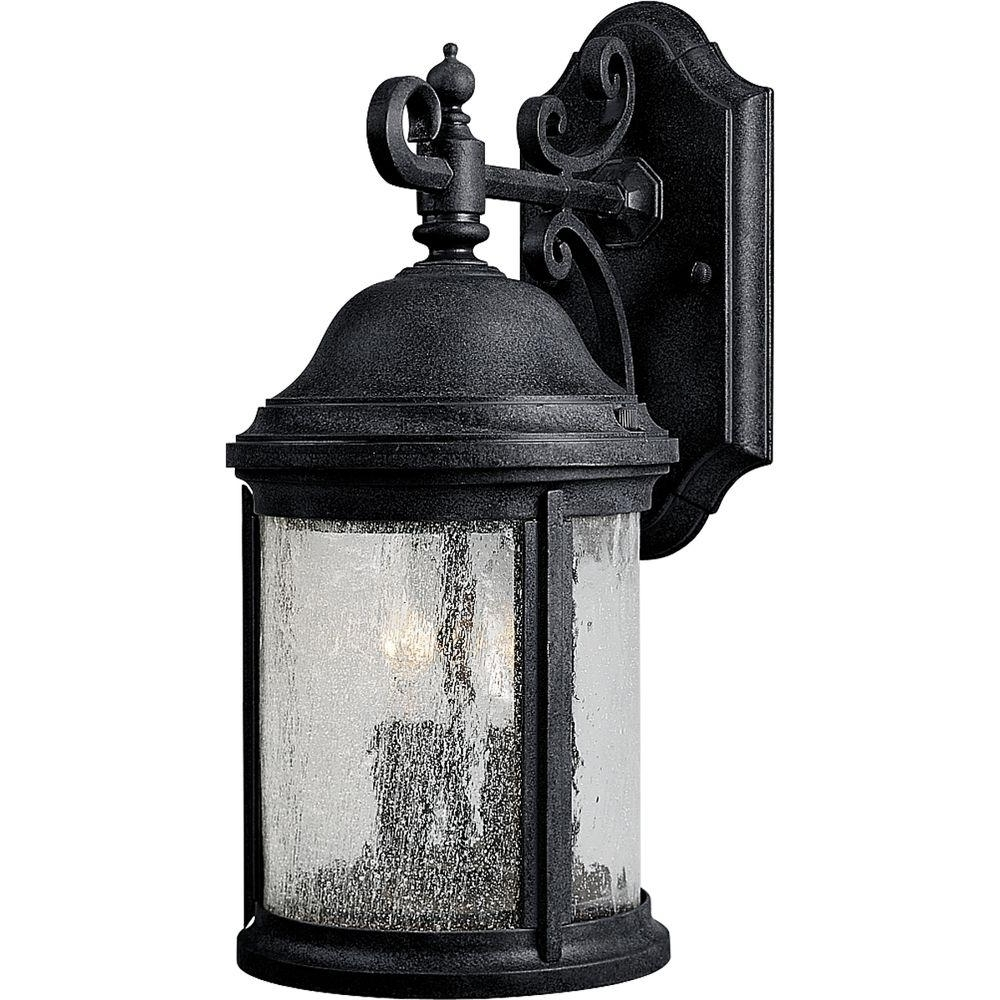 Outdoor Vinyl Lanterns Intended For Favorite Progress Lighting Ashmore Collection 2 Light Textured Black Outdoor (View 10 of 20)