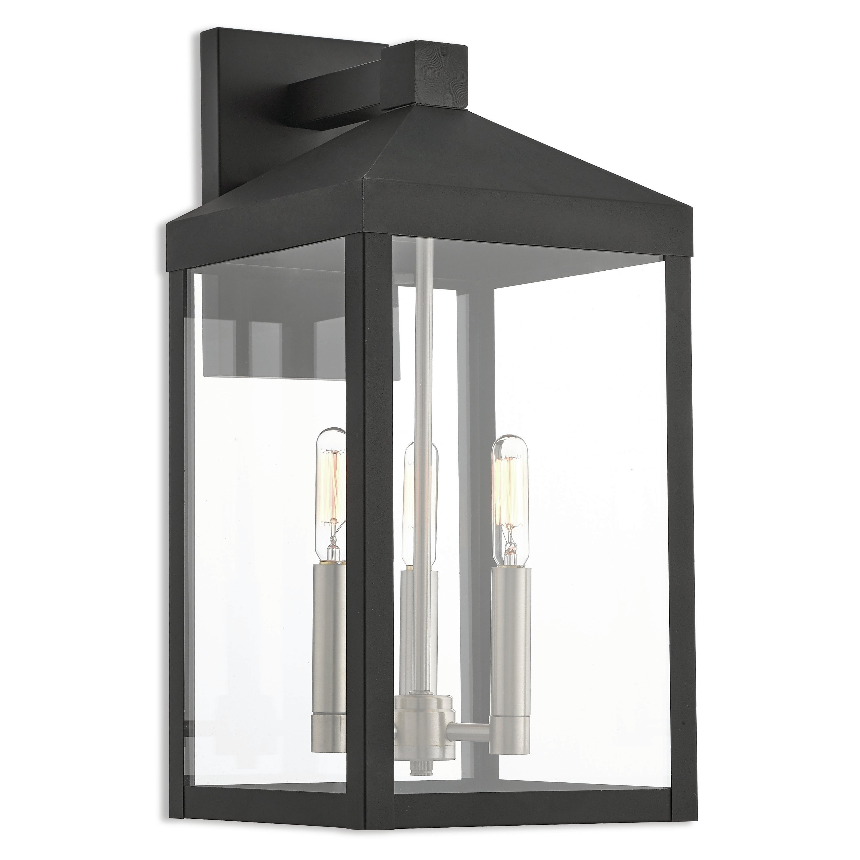 Outdoor Vinyl Lanterns Intended For Most Recently Released Mercury Row Demery 3 Light Led Outdoor Wall Lantern & Reviews (Gallery 17 of 20)