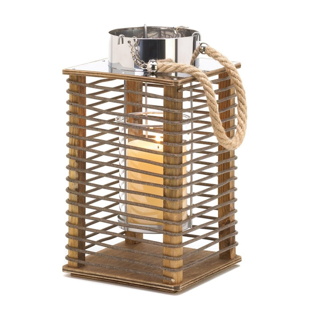 Outdoor Wood Lanterns For Well Liked Wood Candle Lantern, Outdoor Rustic Decor Hudson Wooden Lantern (View 10 of 20)