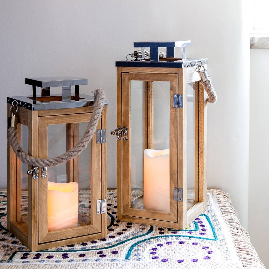 Outdoor Wood Lanterns Inside Well Known Set Of Two Salcombe Wooden Candle Lanternslights4fun (View 16 of 20)