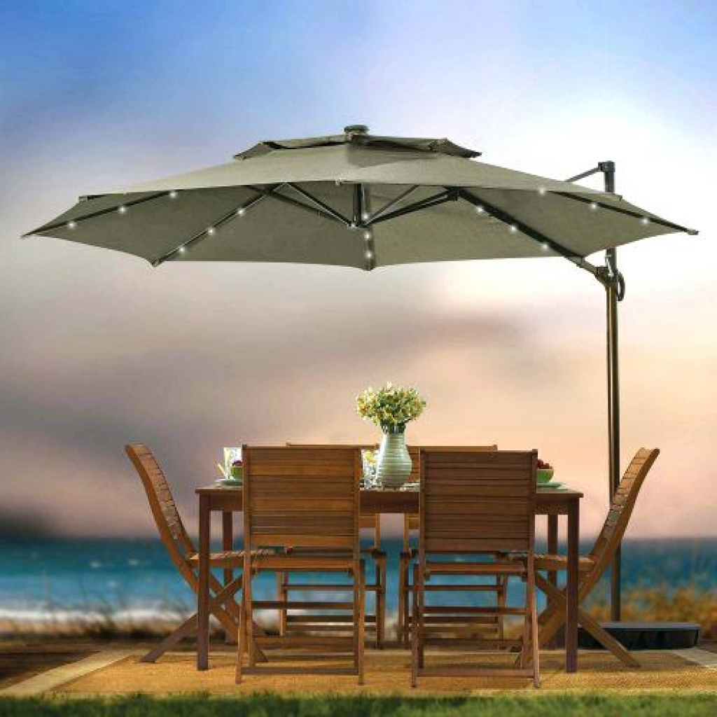 Oversized Patio Umbrellas Throughout Recent Patio & Outdoor: Kmart Grey Oversized Patio Umbrella With Light For (View 10 of 20)