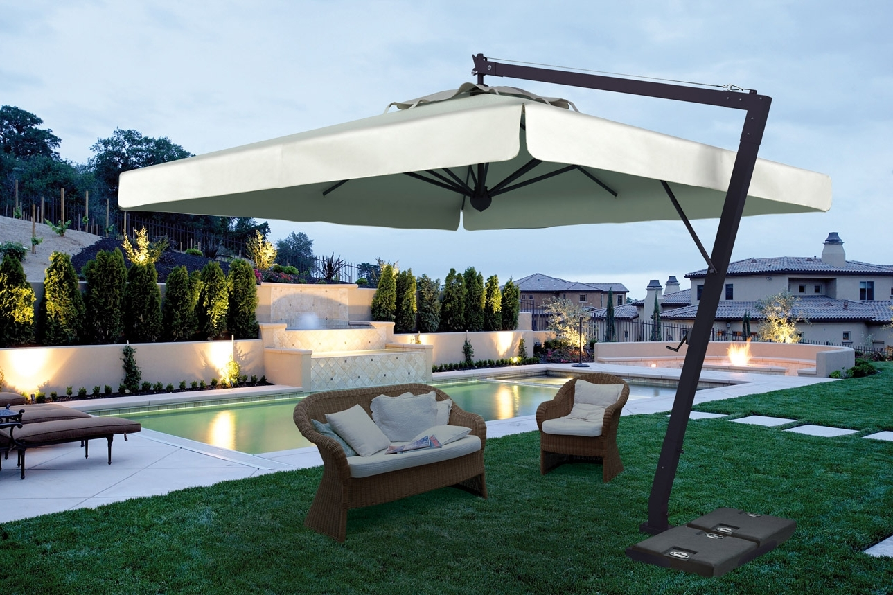 Oversized Patio Umbrellas With Regard To Trendy Patio Exrta Large Umbrella With Black Furniture Commercial Umbrellas (Gallery 2 of 20)