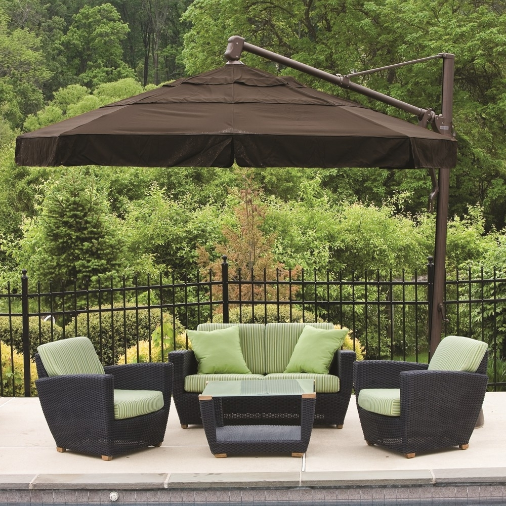 Patio Deck Umbrellas In Most Recent Contemporary Patio Outdoor With Cantilever Rectangle Stand Umbrella (View 8 of 20)