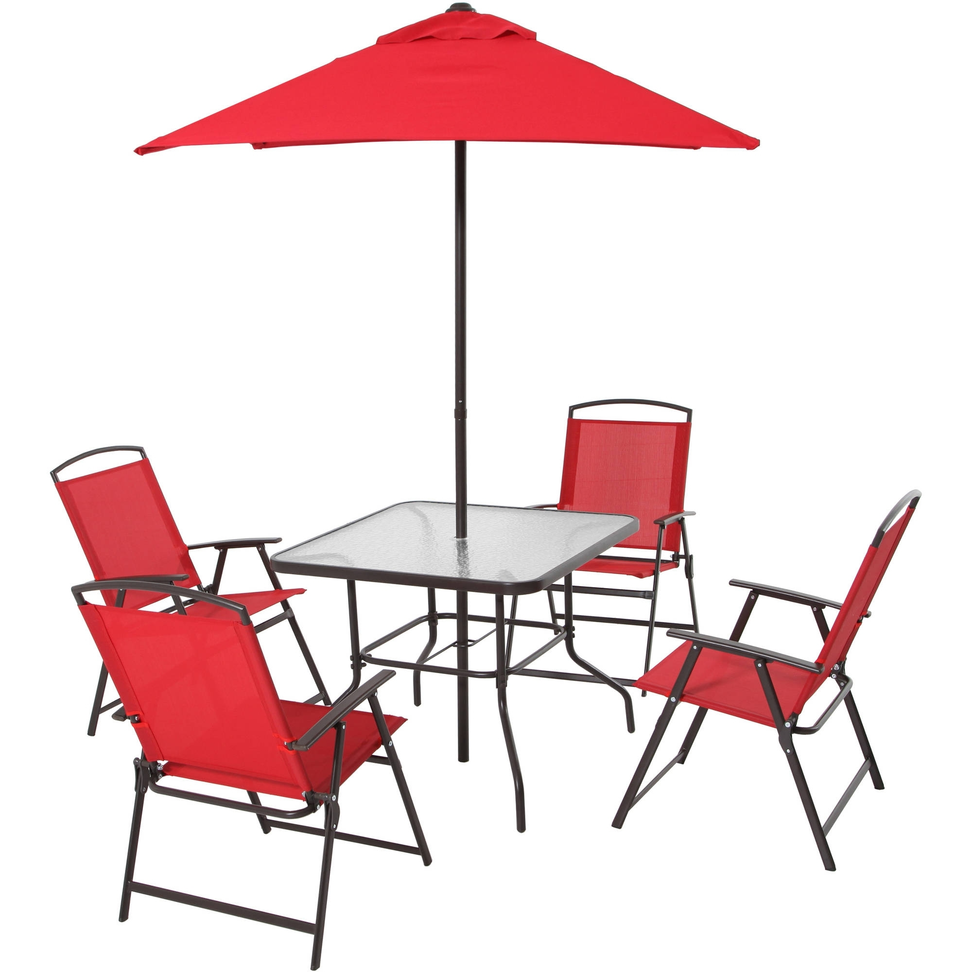 Patio Dining Set Folding Chairs Outdoor Furniture Metal Frame Throughout Most Popular Patio Table And Chairs With Umbrellas (Gallery 15 of 20)