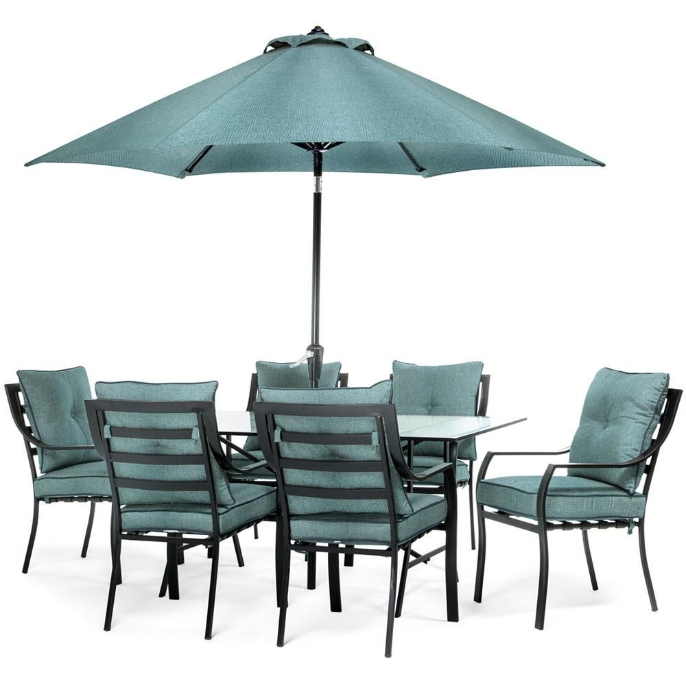 Patio Dining Umbrellas Intended For Latest Hanover Lavallette Black Steel 7 Piece Outdoor Dining Set With (View 10 of 20)