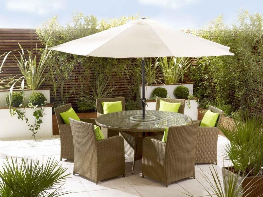 Patio Furniture With Umbrellas In Fashionable Patio Furniture With Umbrella The Most Amazing Small Set For (View 9 of 20)