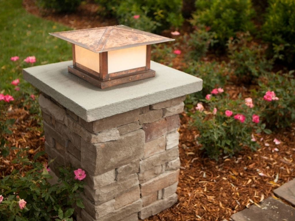 Patio Kitchen Ideas Stone Pillar Lighting Driveway Pillars Outdoor Throughout Most Recently Released Lanterns For