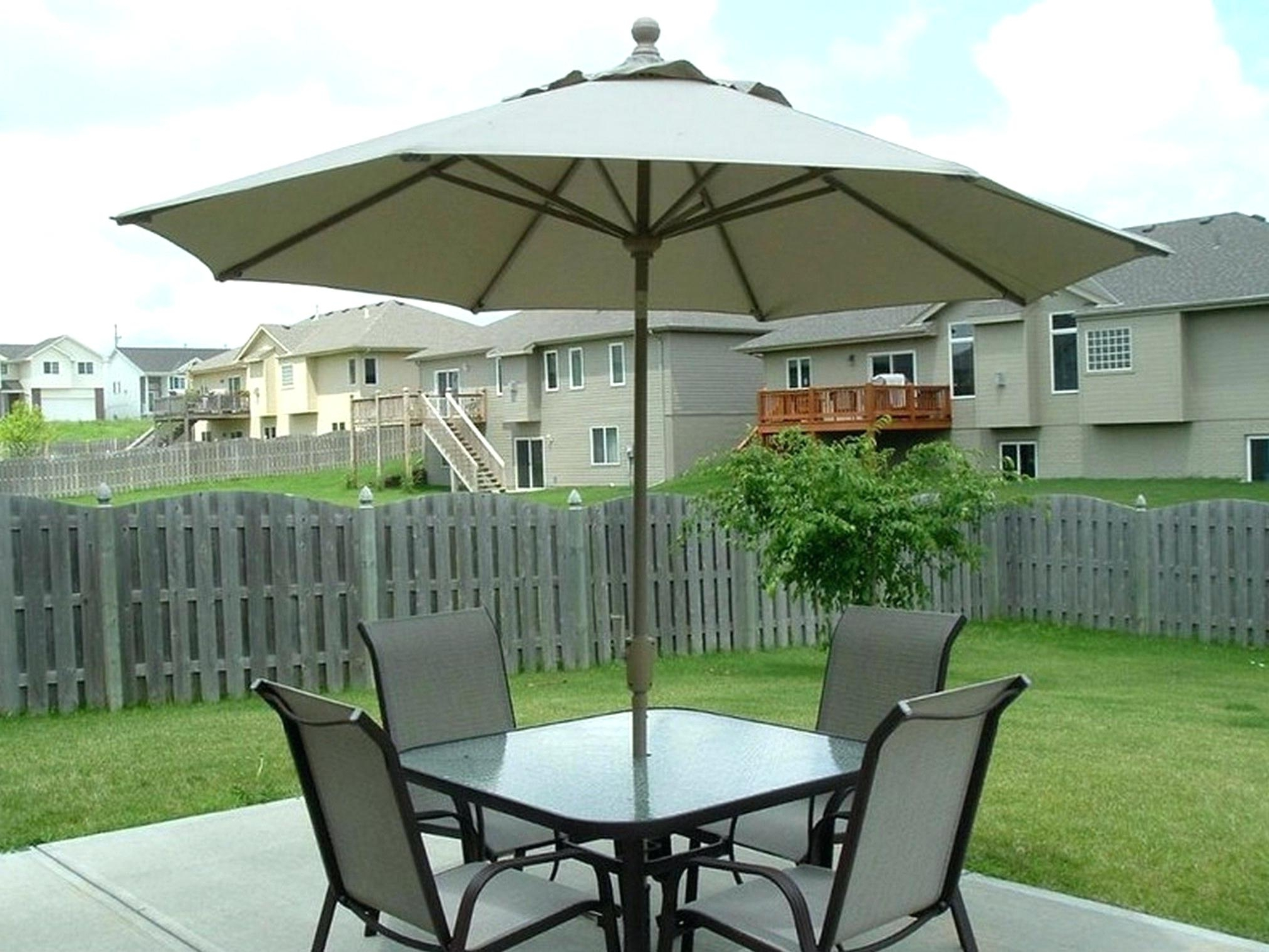 Patio Sets With Umbrellas Within Newest Outdoor Furniture Umbrellas 9 Ft Wood Commercial Grade Patio (View 15 of 20)