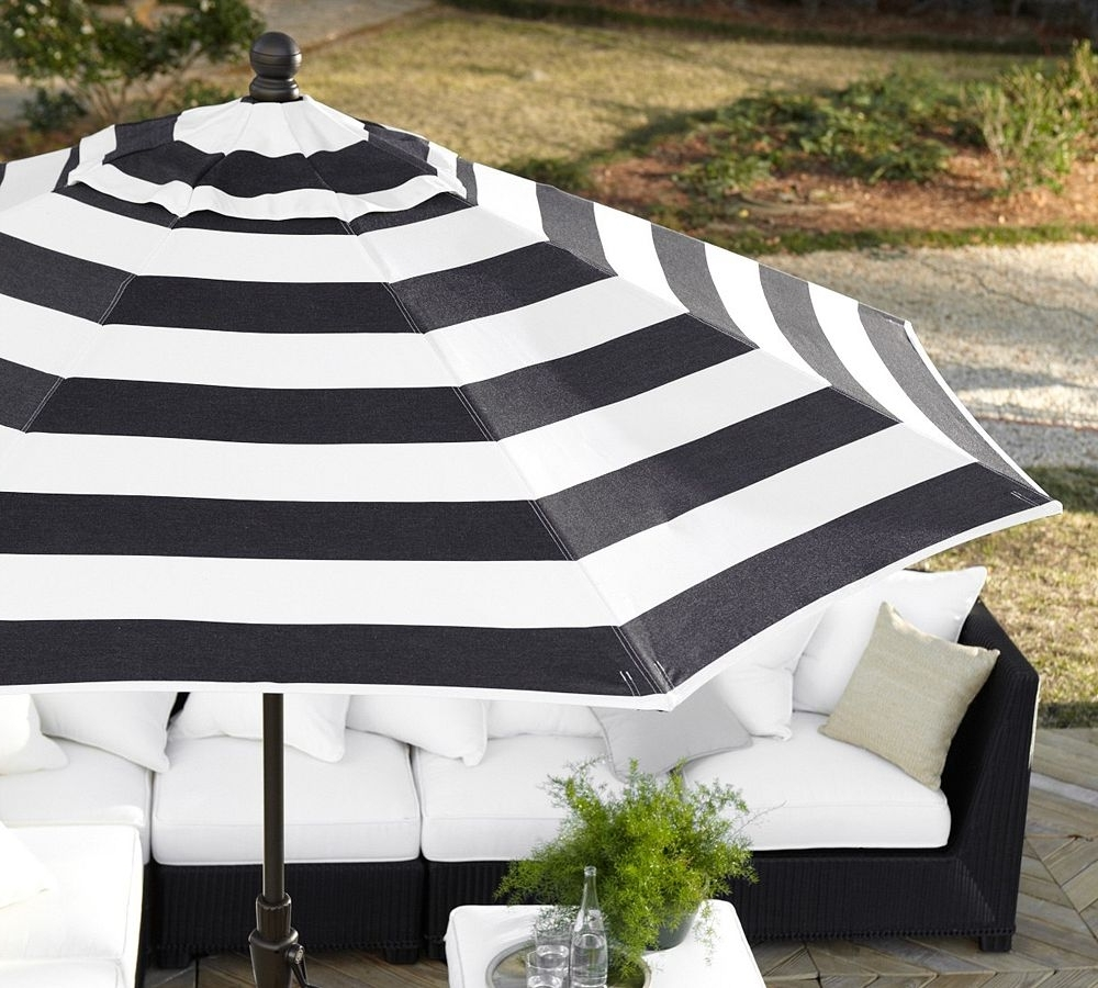 Patio Striking Blacknd White Striped Umbrella Photo Concept – Rafael Intended For Fashionable Black And White Striped Patio Umbrellas (View 14 of 20)